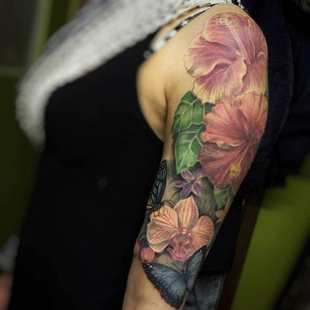 tattoos/ - Realistic Color Flower Bouquet Tattoo - 115619