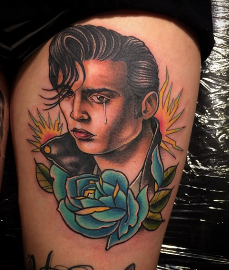 tattoos/ - Johnny Depp with Blue Rose - 101825