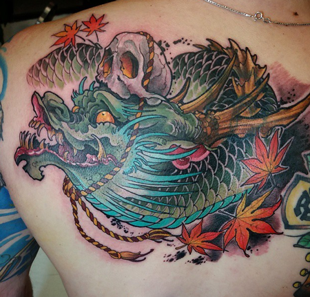 tattoos/ - Skull and dragon back piece - 100277