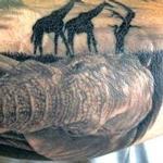 Elephant and giraffe Tattoo Design Thumbnail
