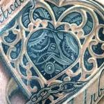tattoo galleries/ - Clockwork heart and banner in color - 122604