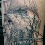 tattoo galleries/ - Black and grey sailing ship