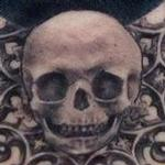Infant Skull and Black Moon Tattoo Design Thumbnail