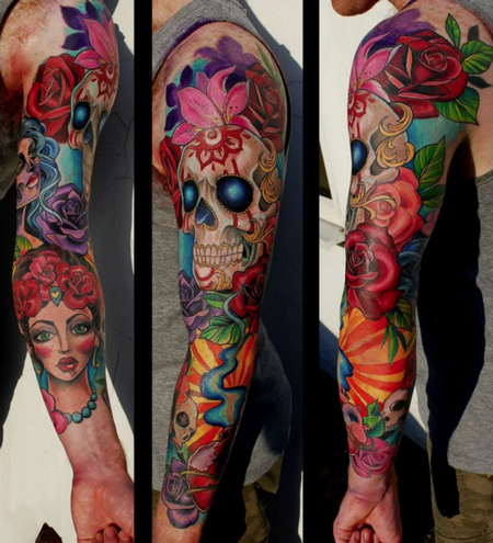 tattoos/ - Skull and Flowers Sleeve - 114532