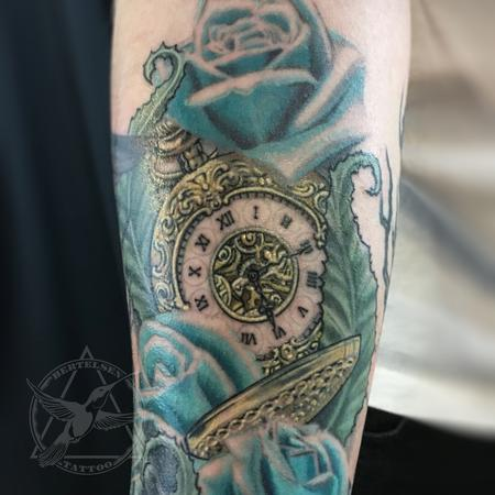 tattoos/ - Pocket watch, Nature and  Blue Roses - 117115