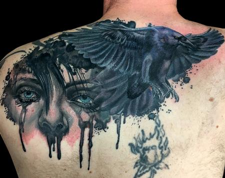 Coverup - Crying Woman and Crow tattoo