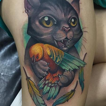 tattoos/ - Cat and bird tattoo - 133098