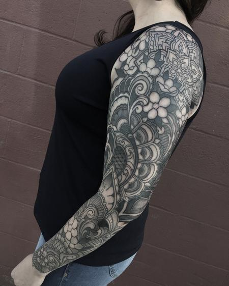 tattoos/ - Ornamental mandala and blossoms sleeve - 122277