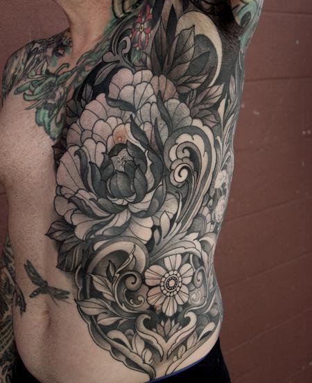Flower - Peony and filigree torso tattoo