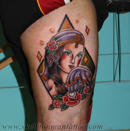 Traditional Old School - gypsy girl tattoo