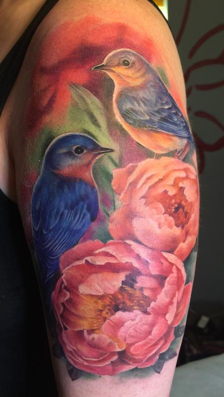 tattoos/ - Bluebirds and peonies  - 117807