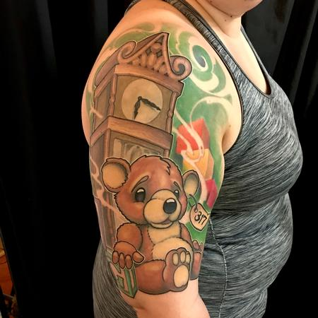 tattoos/ - Teddy bear and grandfather clock - 132849