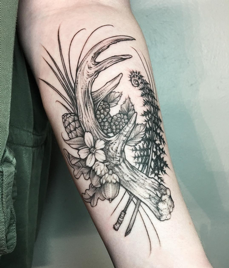 tattoos/ - Antler and Floral on Bicep- Instagram @MichaelBalesArt - 126981