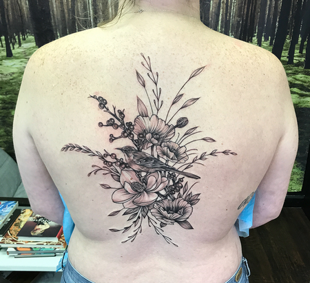 tattoos/ - Mockingbird and Floral on Back- Instagram @MichaelBalesArt - 129793
