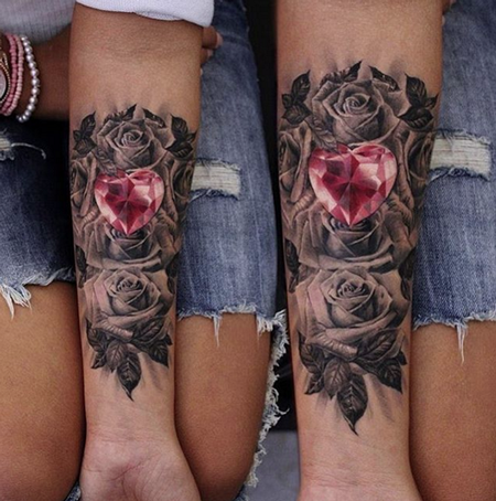 tattoos/ - Heart Diamond and Roses Tattoo - 115399