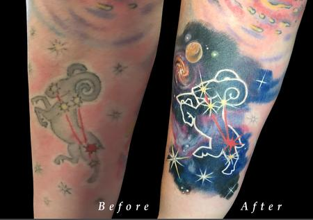 Zodiac symbol tattoos - Aries Zodiac Space Constellation Color Rework on Forearm