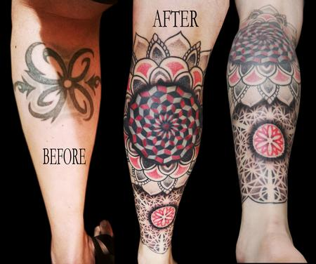 Tribal - linework dotwork colour fractal mandala cover up leg sleeve mandalas