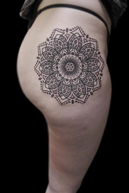Traditional Asian - line work dotwork ornamental mandala
