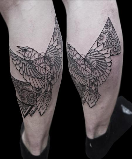 tattoos/ - fineline dotwork geometric bird tattoo - 125821