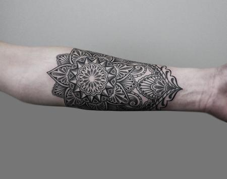 Cosmetic - dotwork linework bongo style forearm tattoo