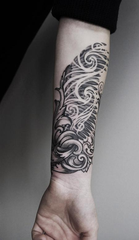 tattoos/ - black and grey filigree wings  - 125822