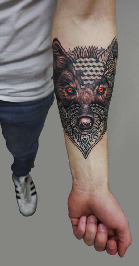 tattoos/ - semi realistic semi geometric dotwork wolf tattoo - 126340
