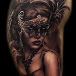 Masked woman portrait Tattoo Design Thumbnail