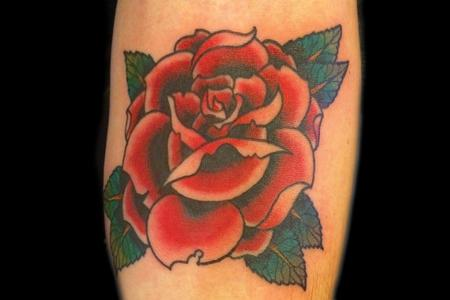 Traditional Old School - Classic Traditional Red Rose Forearm Tattoo