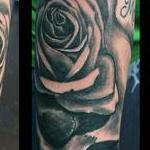 tattoos/ - Black and Gray Skull and Rose - 115746