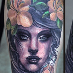 Woman's Face with Flowers Tattoo Design Thumbnail