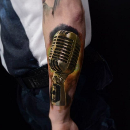 tattoos/ - Realistic Color Microphone Tattoo - 115121