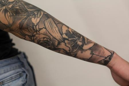 Zodiac symbol tattoos - roses  and floral sleeve blackwork tattoo