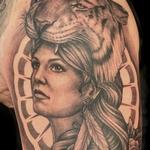Girl with Tiger Headdress Tattoo Design Thumbnail