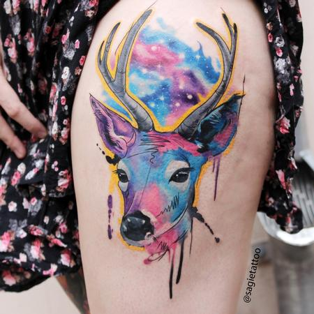 tattoos/ - Water color deer - 116597