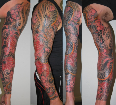 tattoos/ - Japanese Dragon Sleeve Tattoo - 61633