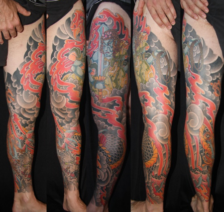tattoos/ - Japanese Dragon Leg Sleeve Tattoo - 61630