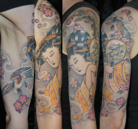 tattoos/ - Japanese Swallow and Geisha Tattoo - 61631