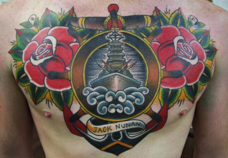 tattoos/ - Traditional Ship and Roses Chest piece Tattoo - 61627
