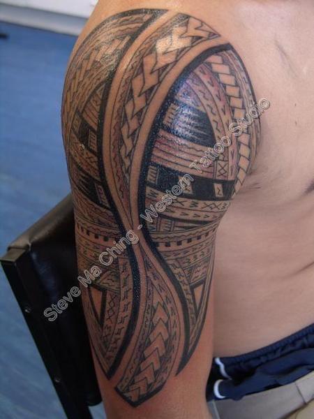 tattoos/ - Black Work Half Sleeve Tattoo - 60549