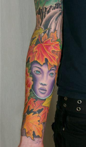 tattoos/ - Fall Leaves Tattoo Sleeve - 61605