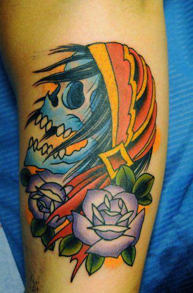 tattoos/ - Traditional Skull Tattoo - 61608