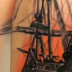 Cover Up Pirate Ship, color, neo traditional boat, art nouveau filigree  Tattoo Design Thumbnail
