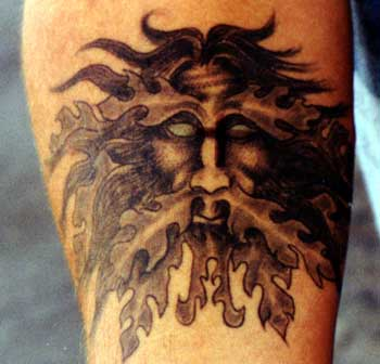 Tattoo Galleries: Green Man Face Tattoo Design