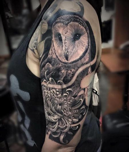 tattoos/ - Owl & Chrysanthemum  - 113837