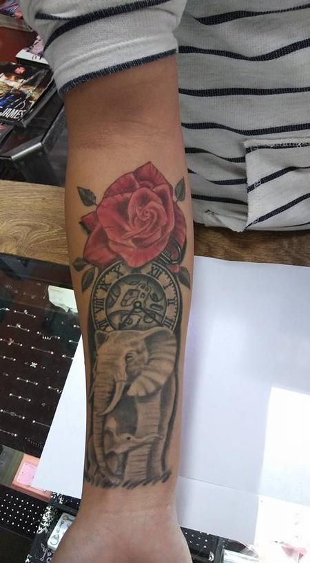 tattoos/ - Elephant Rose and Clock tattoo - 133781