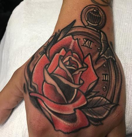 tattoos/ - Rose with a stopwatch - 132691