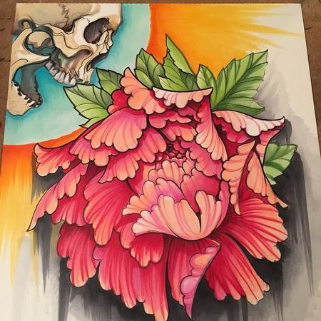 Art Galleries - Skull and Peony Copic Marker Drawing - 99238