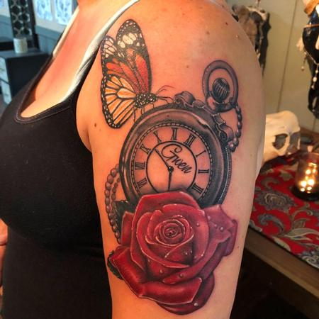 tattoos/ - Clock, Rose & Butterfly - 135038