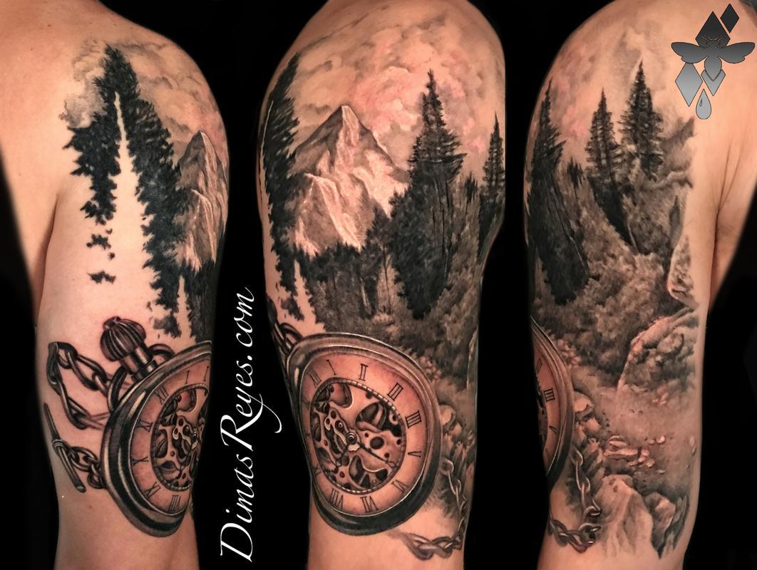 Black and Grey Realistic Mountain Landscape & Pocketwatch Tattoo Tattoo Design
