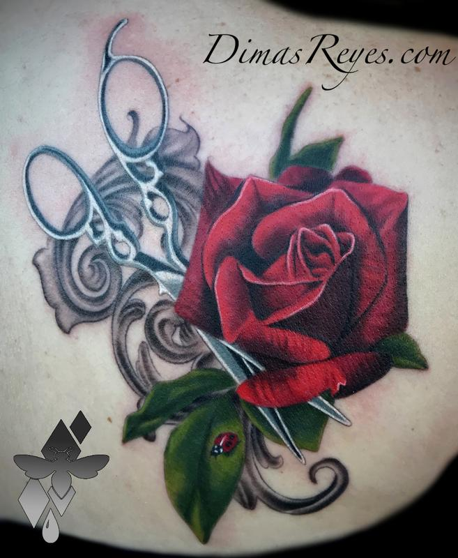 Realistic Color Rose Shears and Ladybug with Filligree Tattoo Design
